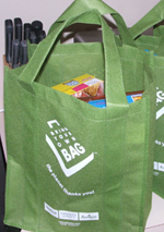 Green reusable grocery bag