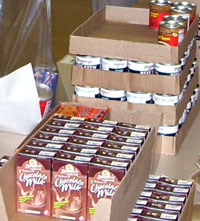 Cases of food for Power Packs